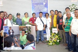 Wreath laying during the commemoration of DXRA Massacre in Davao City. (Inset) Cong. Alcover with media personalities.